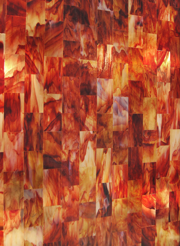 Art Glass tile panel RED ONYX